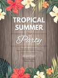 Bright hawaiian design with tropical plants and hibiscus flowers