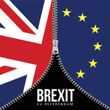 Brexit concept. British flag. EU flag. EU referendum. Symbol of imminent exit of Great Britain out of the European Union. Vector