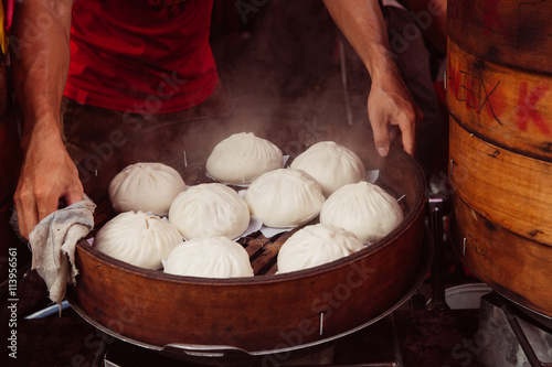 Steamed buns food stall in Chinatown, Kuala Lumpur, Malaysia Poster