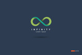 Symbol or mark Infinity Green Floating on a blue background - 113956758