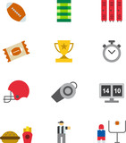 AMERICAN FOOTBALL colored flat icons