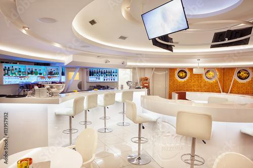 Deurstickers Pizzeria Modern Cafe Interior