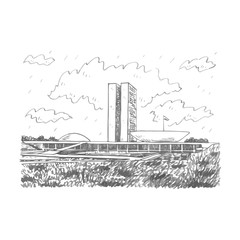 National Congress Palace in Brasilia, Federal District, Brazil. Freehand drawn sketch. Vector illustration