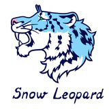 The growling blue snow leopard in a profile