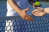 Tennis players shaking hands on the net, fair play, outdoors