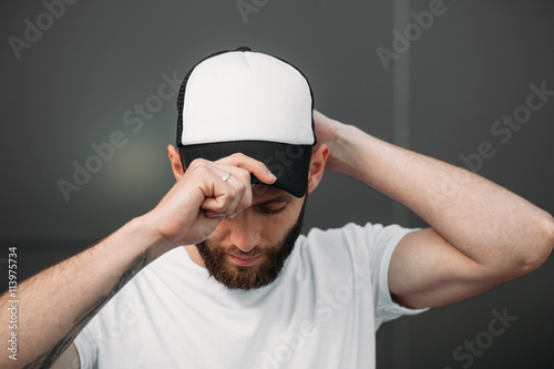 Baseball cap empty mock up Poster