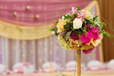 flowers on table, beautiful flowers decoration in wedding day