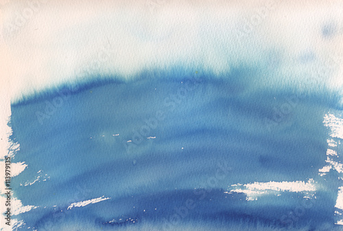 Fototapeta blue ombre watercolor background