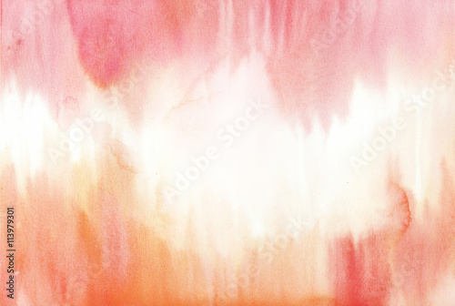 orange and pink watercolor background - 113979301