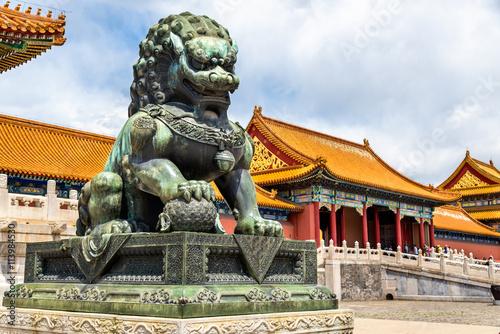 Bronze lion near the Hall of Supreme Harmony - Beijing Forbidden City Poster