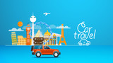 Travel vector illustration. Vacation design template. Car travel