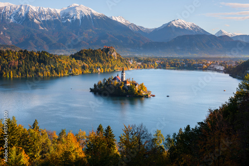 Panoramic view of Lake Bled from Mt. Osojnica, Slovenia Plakat