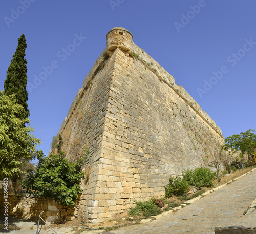 The walls of the old fort of Rethymno. Rethymno is an old historic town on the northern coast of the Crete island.