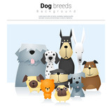 Animal background with dogs , vector, illustration