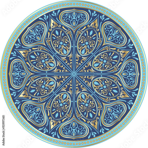 Zdjęcia na płótnie, fototapety, obrazy : Drawing of a floral mandala in turquoise, blue and gold colors on a white background