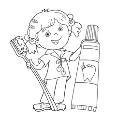 Coloring Page Outline Of cartoon girl with toothbrush and toothp