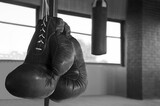 Boxing gloves in a gym punching bag