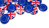 UK And EU Flag Badges Brexit Concept