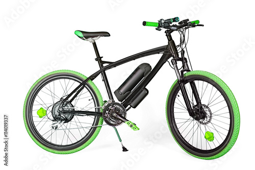 Black and green electric bike Poster