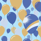 Marshall Islands National Day Flat Seamless Pattern. Flying Celebration Balloons in Colors of Marshallese Flag. Happy Independence Day Background with Flags and Balloons.