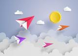 Fototapety paper plane on blue sky