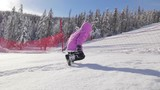 Little girl have good times and walk in powder snow