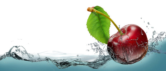 Juicy cherry berry in a spray of cool water. © PRUSSIA ART