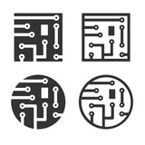 Fototapety Circuit board icons in square and round shapes Vector Illustration
