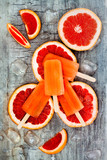 Homemade frozen grapefruit natural juice popsicles