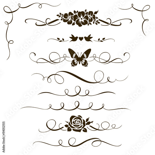 Set of decorative floral elements. Calligraphic dividers, flowers and ornamental silhouettes for your design.  - 114052155
