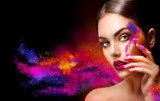 Fototapety Beauty woman with bright color makeup