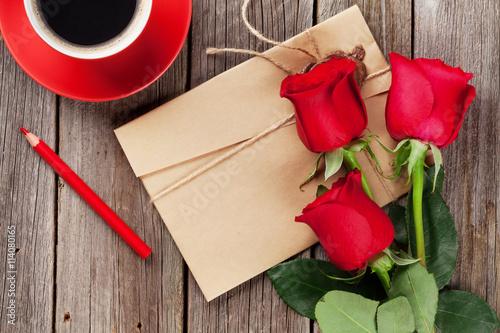 Zdjęcia na płótnie, fototapety, obrazy : Love letter and red roses