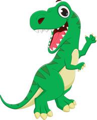 illustration of Dinosaurs cartoon waving hand