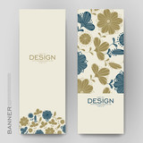 Beautiful banner vector template with floral background