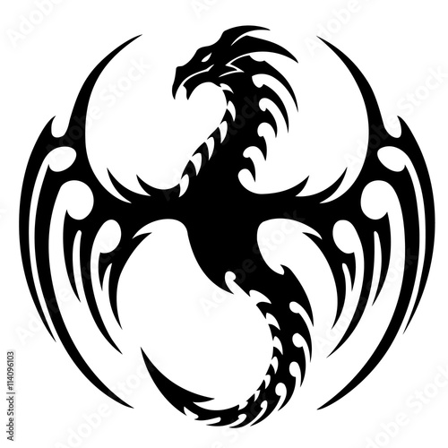 vector illustration, tribal dragon tattoo design, black and white graphics.