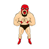 Mexican wrestler in cartoon style, character