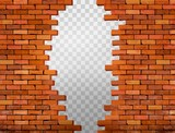 Fototapety Vintage brick wall background with hole. Vector
