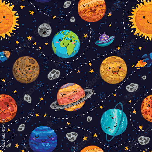 Materiał do szycia Seamless space pattern background with planets, stars and comets.