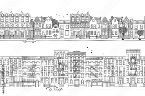 In de dag Art Studio Two hand drawn seamless city banners - London and New York style houses