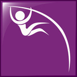 Pole vault icon on purple background