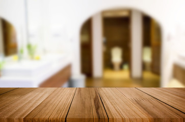 Selected focus empty brown wooden table  for product display mon © snowing12