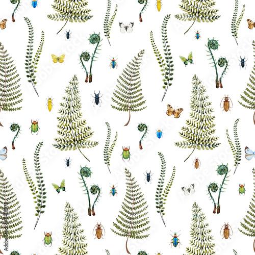 Fototapeta Watercolor fern pattern