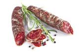 Salami sausages sliced