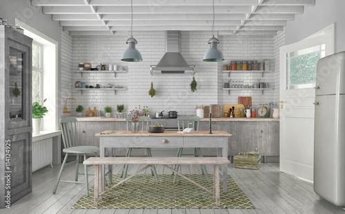 Gamesageddon 3d vintage kitchen shot 2 lizenzfreie for Case in stile adobe