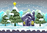 Cartoon vector christmas background with separated layers for game and animation, game design asset