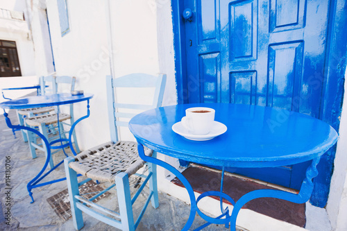 A cup of coffee on table, traditional greek coffee