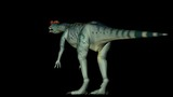 Animation of dinosaur Dilophosaurus in rotation 360 degree on black background