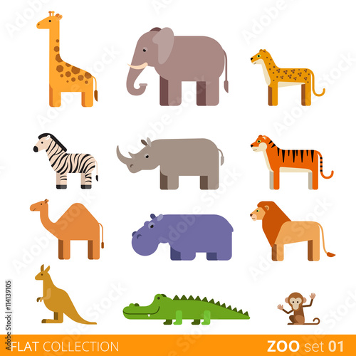 mata magnetyczna Flat vector icon wild farm domestic animal cartoon collection