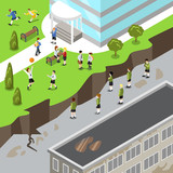 Isometric happy vs unhappy school flat 3d vector illustration