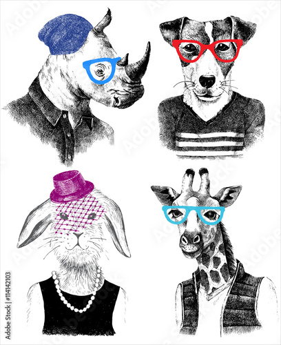 dressed up animals set in hipster style - 114142103